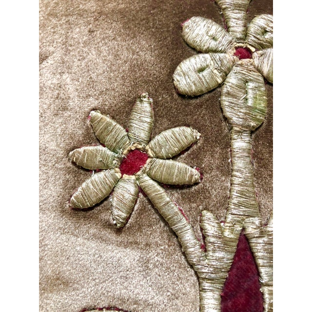 19th Century Metallic Silver Wire Floral Embroidery Brown Velvet Pillow For Sale In West Palm - Image 6 of 13