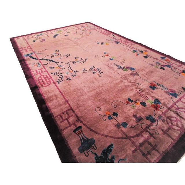 This is a magnificent One of a kind rare Antique Art Nouveau Art Deco Walter Nichols Mandarin rug. It has a rare geometric...