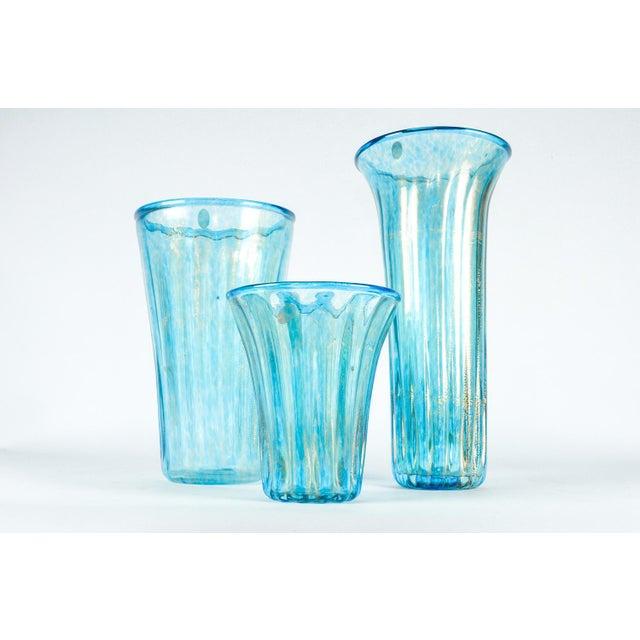 Turquoise Murano Glass Vases Set Of 3 Chairish