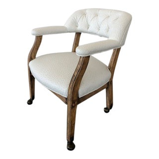 Vintage Tufted Rolling Arm Chair - a Pair For Sale