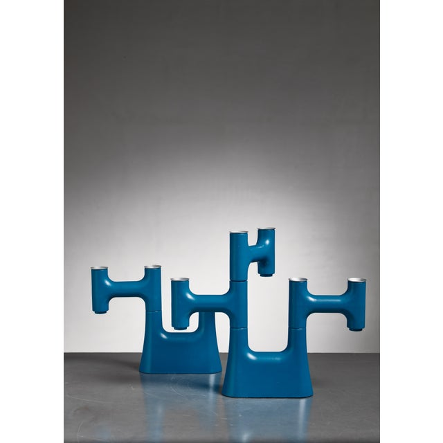 Pair of Blue Candle Holders For Sale - Image 4 of 6
