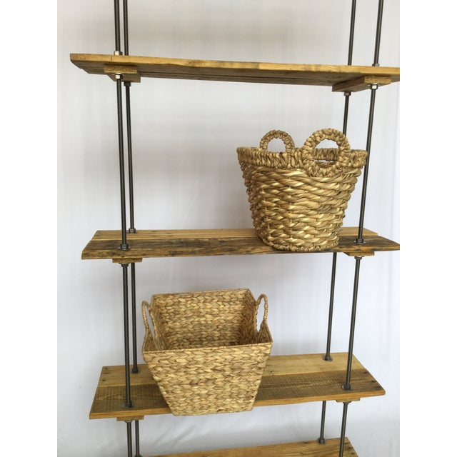 Tan Industrial Tall Recycled Wood and Metal Rod Adjustable Bookcase Shelf For Sale - Image 8 of 12