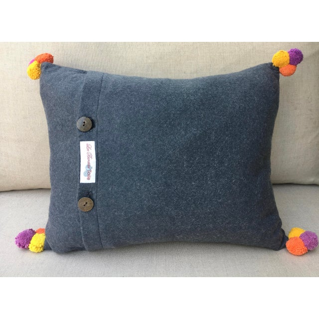 Vivid Applique Hmong Textile Pillow with Pom Poms For Sale In New York - Image 6 of 6