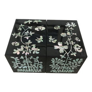 Boho Asian Mother of Pearl Inlay Lacquer Jewelry Trinket Box