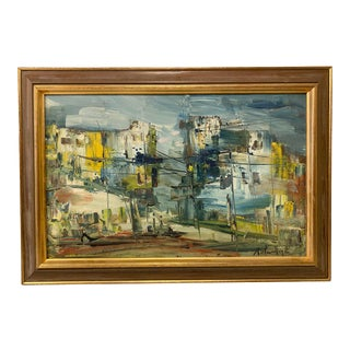Italian Mid Century Seascape Painting, Framed For Sale