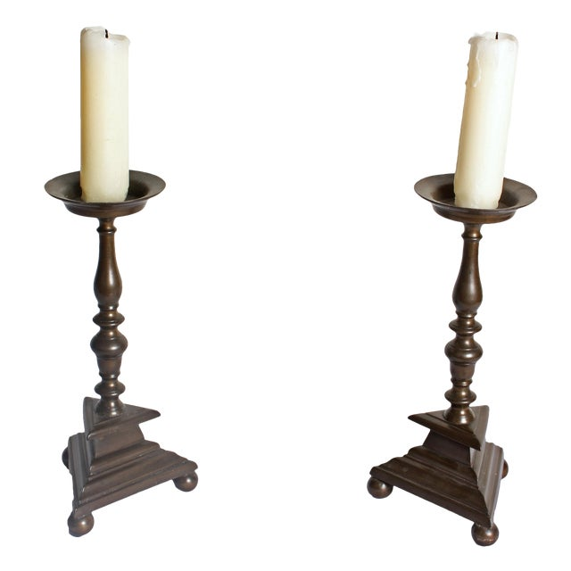 Mid 18th Century Bronze Candlesticks - a Pair For Sale