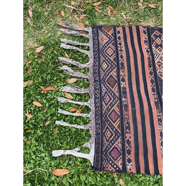 Antique Nomadic Embroidered Cecim Kilim Runner Rug For Sale - Image 4 of 8