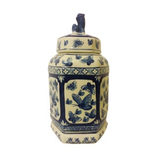 Blue & White Butterfly Ginger Jar With Foo Dog For Sale