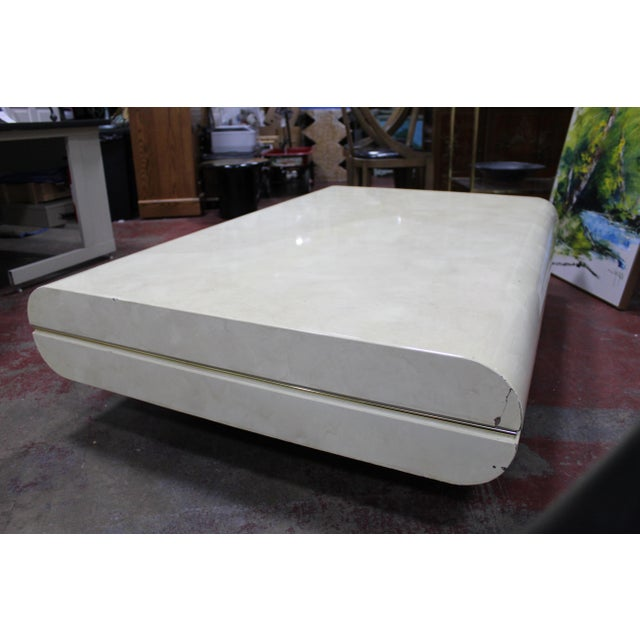 Mid-Century Modern Mid Century Modern Karl Springer Attrib. Lacquered Goatskin Floating Cocktail/Coffee Table For Sale - Image 3 of 13