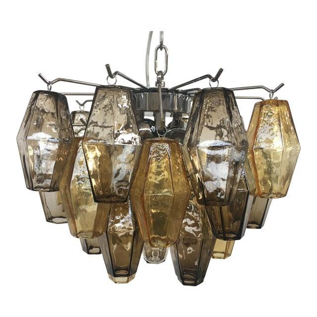 "Italian ""Poliedro"" Amber and Fume Chrome Metal Frame Murano Glass Chandelier For Sale"