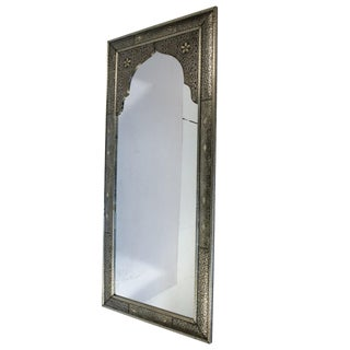 Moroccan Tall Silver Mirror With Arch Inset and Bone For Sale