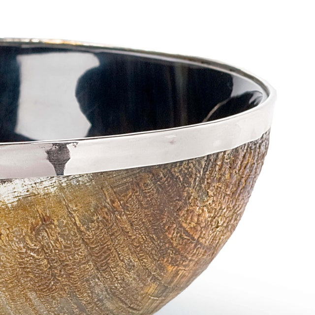 Polished Horn And Brass Bowl For Sale - Image 4 of 5