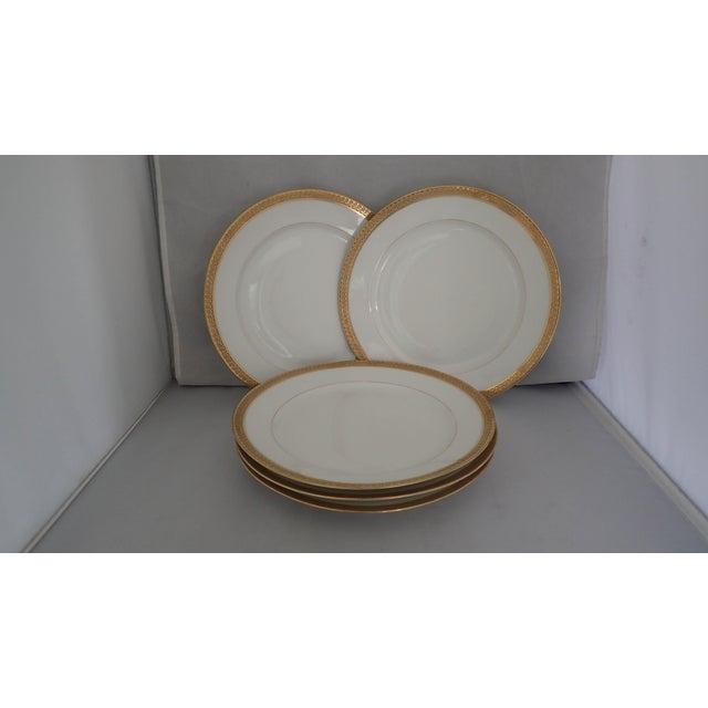Elegant Gold Rim Dinner Plates S/5 - Image 5 of 7