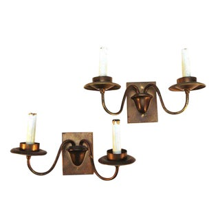 Two Arm Copper Sconces - A Pair