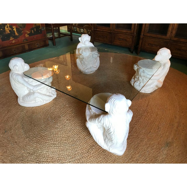 Hollywood Regency Vintage Monkey Glass Coffee Table For Sale - Image 12 of 13