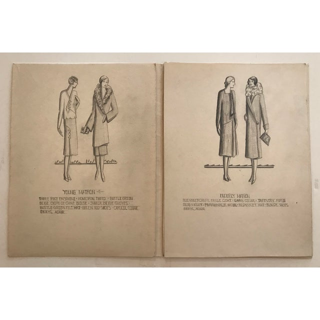 Drawing/Sketching Materials Portfolio of Fashion Designs by Beryl Adair Trezise, C. 1930 For Sale - Image 7 of 7