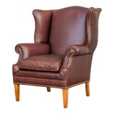 Image of Leather Chippendale Style Wing Chair For Sale