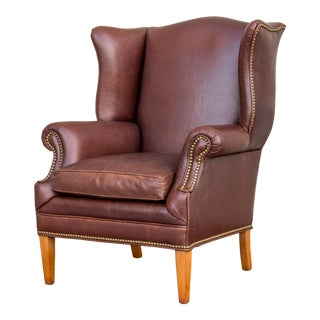 Leather Chippendale Style Wing Chair For Sale