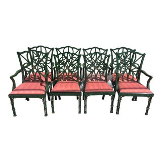 Set of 8 Smith and Watson Faux Malachite Dining Chairs For Sale