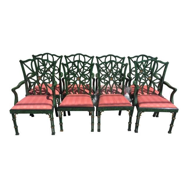 Set Of 8 Smith And Watson Faux Malachite Dining Chairs Chairish