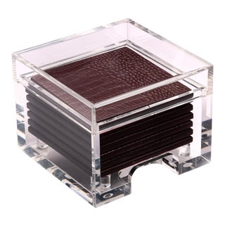 Python Burgundy Coasters in Clear Box - Set of 8 For Sale