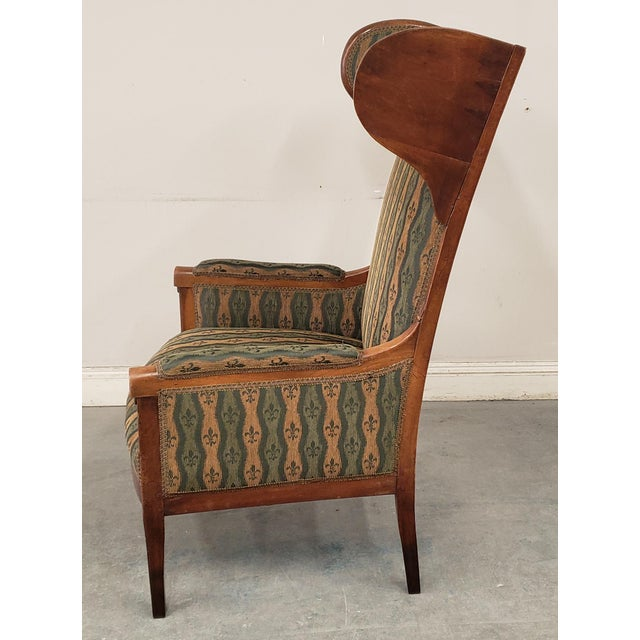 Brown Early 20th Century French Country Provincial Upholstered Maple Wood Wingback Armchair For Sale - Image 8 of 9