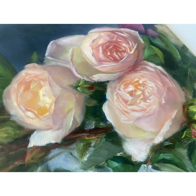 Contemporary Oil Painting of Garden Roses - Framed For Sale - Image 3 of 10