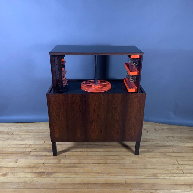 Wood Kai Kristiansen Rosewood Hydraulic Bar Cabinet, 1968 For Sale - Image 7 of 12