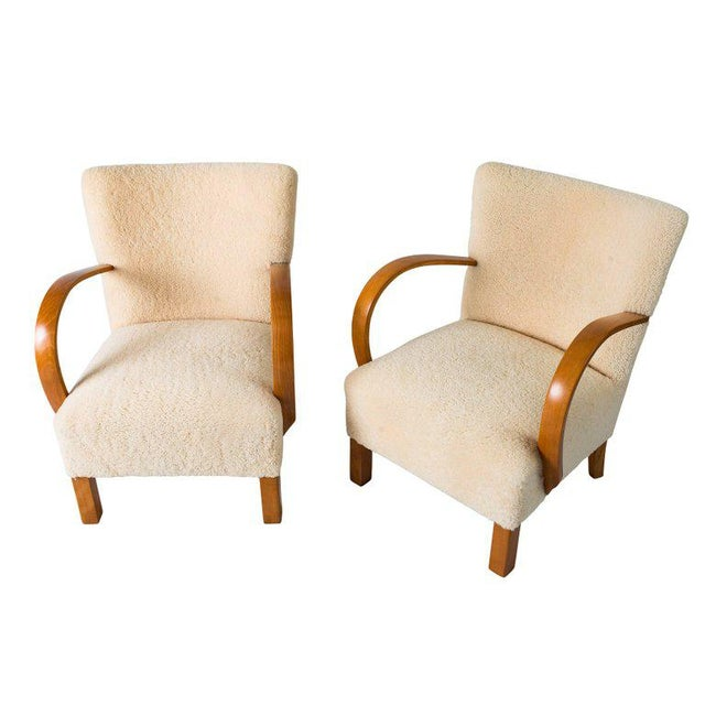 Pair of Scandinavian Sheepskin Lounge Chairs For Sale In Los Angeles - Image 6 of 9
