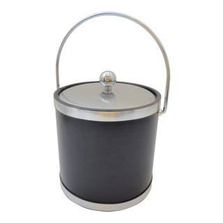 Vintage Mid-Century Kraftware Black and Brushed Chrome Ice Bucket For Sale