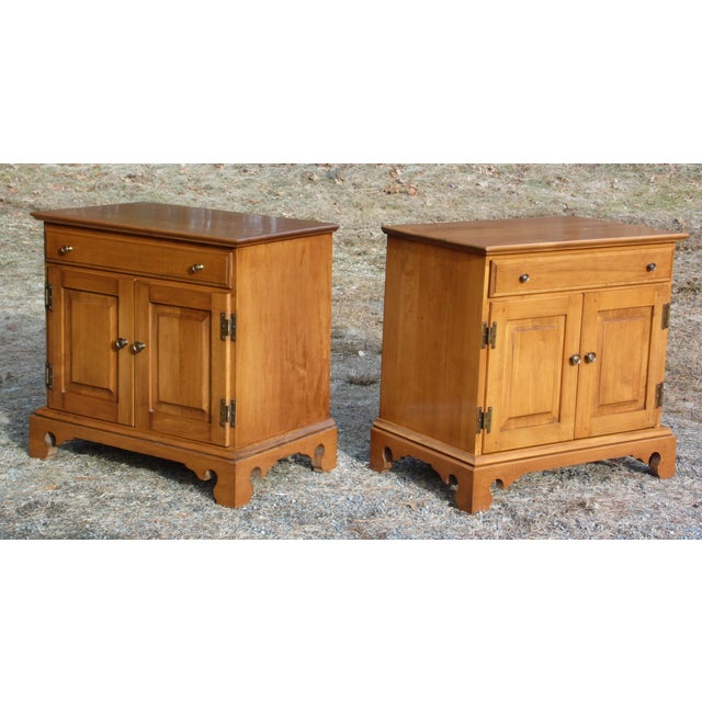 Pair Beal's Solid Rock Maple Nightstands Bedside Cabinets End Tables Record Cabinet For Sale In Providence - Image 6 of 13