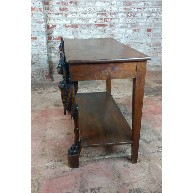 Wood Antique Side table w/two carved Nude Female Figures For Sale - Image 7 of 12