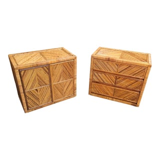 Split Reed With Cane Nightstands For Sale