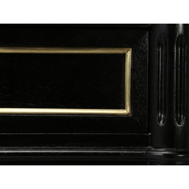 French Louis XVI Ebonized Buffet With Marble Top For Sale - Image 11 of 12