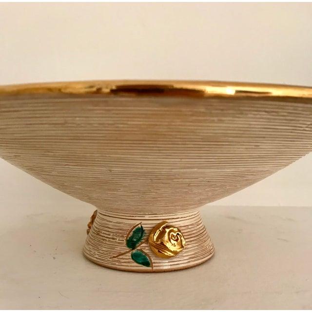 1980s Vintage Art Deco Gold Flowers Bowl For Sale - Image 4 of 6