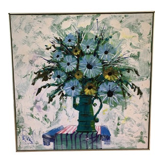 MidcenturyCanvas Floral Burst Painting For Sale