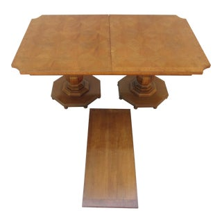 Parquet and Burlwood Top Double Pedestal Dining Table For Sale