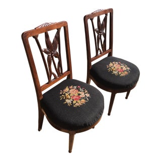 1800s Vintage Walnut Carved Parlor Chairs - a Pair For Sale