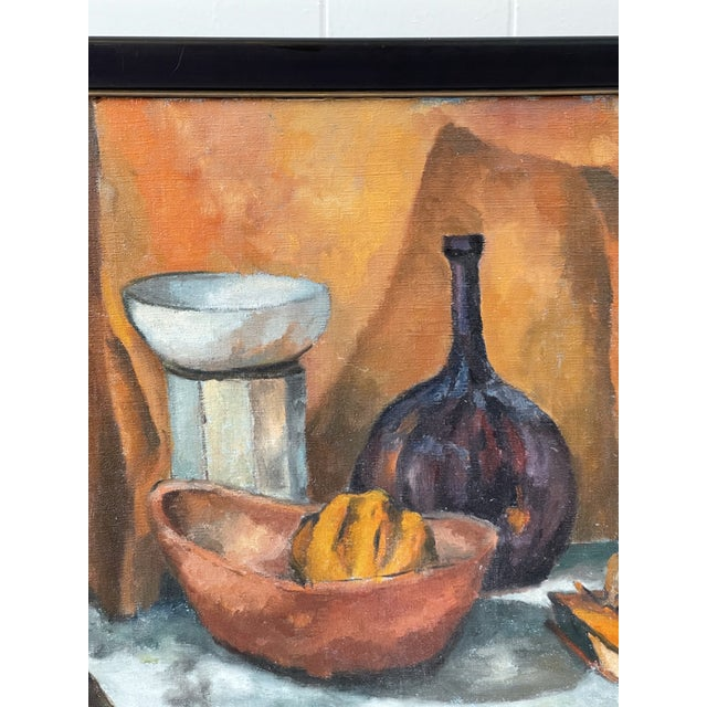Apricot Midcentury Still Life Oil Painting For Sale - Image 8 of 12
