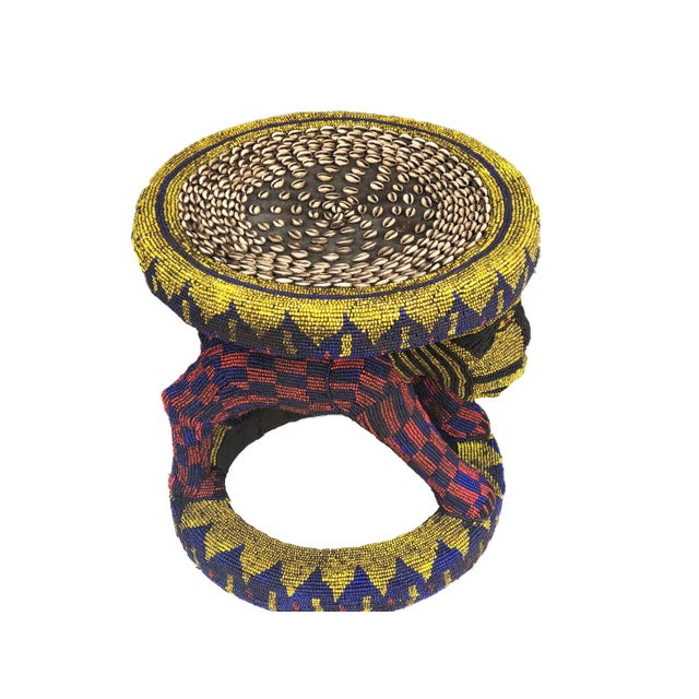 """Old Lg African Beaded Wood Bamileke Stool /Table Cameroon 18.5'""""h For Sale - Image 9 of 10"""