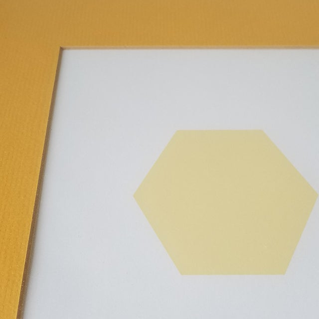 """Yellow 1960s """"Bees and Hexagons"""" Minimalist Serigraph, Framed For Sale - Image 8 of 10"""