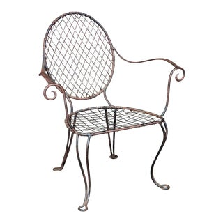 Vintage Wrought Iron Armchair For Sale