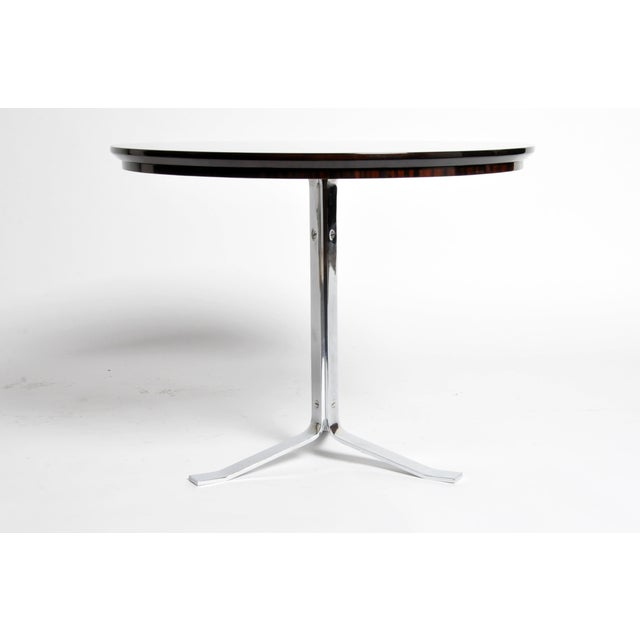 Mid-Century Modern Round Table with Metal Legs and New Veneer Top For Sale - Image 3 of 11