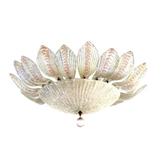 Glamorous Murano Clear and Blush Bullicante Art Glass Pendant Light