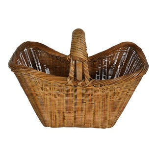 Vintage Chinese Hand Woven Bamboo Basket For Sale