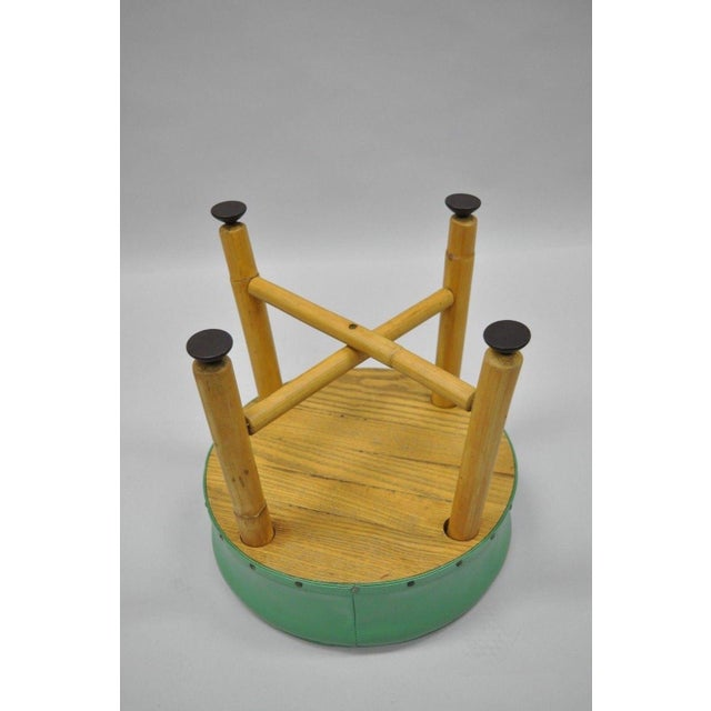 Vintage Green Vinyl Bamboo Wood Stool For Sale - Image 9 of 11