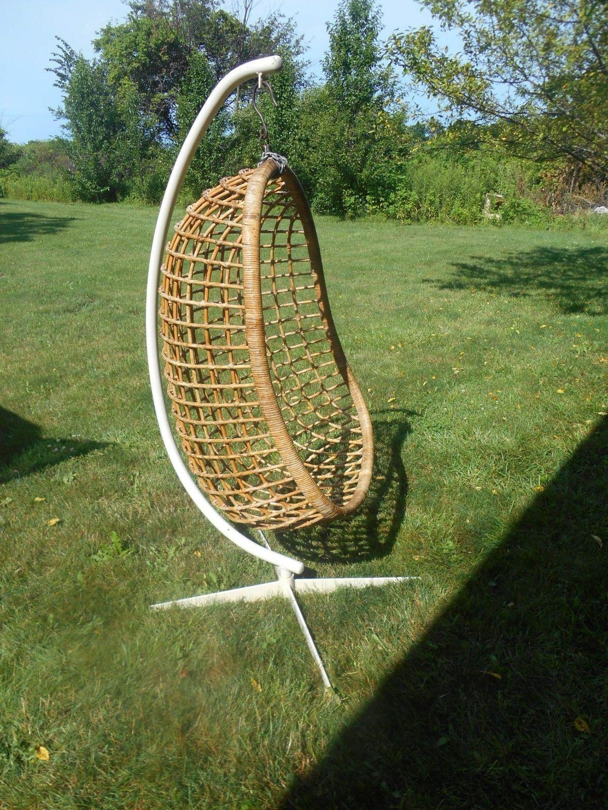 Authentic Vintage 1960 70u0027s Mid Century Modern Rattan Hanging Egg Chair  With Original Stand