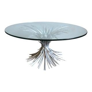1960s Hollywood Regency Silver Wheat Bundle Coffee Table