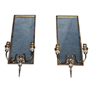 Pair of Louis XVI Style Brass Mirrored Sconces For Sale