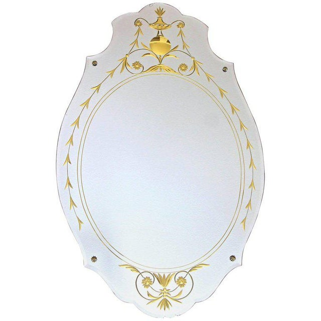 1930s Art Deco Etched Gold Wall Mirror For Sale - Image 11 of 11